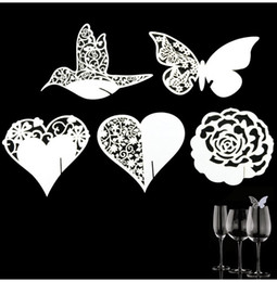 Wholesale 50 Place Name Card Heart Glass Wedding Cards Party Festive Event Table Goblet Decoration Birthday Supplies Decorative Crafts