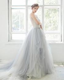 Light Blue Wedding Gowns Sheer Scoop Neck Princess Ball Gown Wedding Dresses Vintage Dreamlike Bride Wear Garden Beach Dress White Lace Top