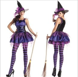 Wholesale Witch Game Uniforms Role Purple Cosplay Halloween Witch Costumes Sexy French Maid Pointed Hat Party Festive Costumes One Size Hag