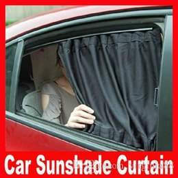Wholesale 2pcs New cm car curtain Black Color Cotton Mesh Materail aluminum alloy car curtain sun shading Automatic Blinds