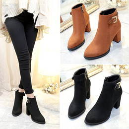 2017 winter new British wind lady short tube plus cashmere boots round high-heeled Martin boots rough with boots shoes