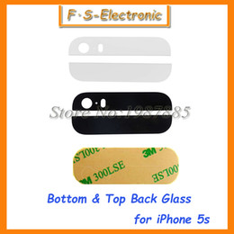 20pairs Black White Back Rear Housing Part Top Bottom up down Glass Lens Cover with 3M Sticker Adhesive for iPhone 5S 5G Repart