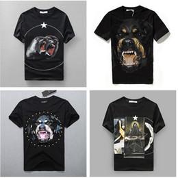 Wholesale Summer Women Men Cotton T Shirt Roaring monkeys stars Brand desinger rottweiler printed gvc Kanye West t shirt men Tee Shirts