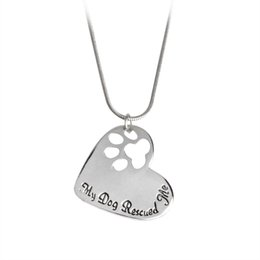 Wholesale My Dog Rescued Me quot Letters Hollowed Dog Paw Claw Heart Shaped Pendant Necklace Silver Chain Animal Jewelry Love Gift For Friend