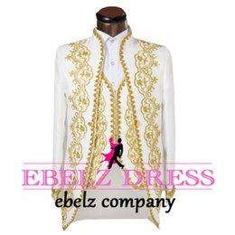 Wholesale 2016 fashion men s gold wedding dress embroidered evening dress high end custom suits jacket pants vest tie customized custo