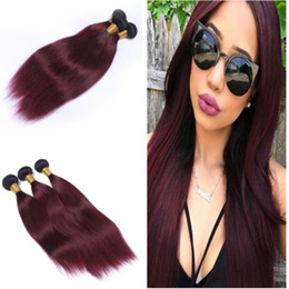 Unprocessed Wine Red Ombre Brazilian Human Hair Bundles Dark Root Burgundy 1B 99J Hair Weaves Two Tone Hair Extensions 3Pcs Lot