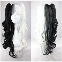 Wholesale Cosplay Lolita Wigs White - White Mix Black 70cm Classical Anime Wavy Braided Fashion Cosplay Lolita Full Wig ePacket Free Shipping
