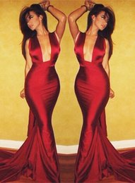 2017 Dark Red Michael Costello Mermaid Evening Dresses Sexy Open Front Women Prom Dresses Backless Formal Dresses Custom Made