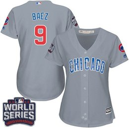 Wholesale Women s Chicago Cubs Javier Baez Authentic Grey Road World Series Bound Cool Base Jersey