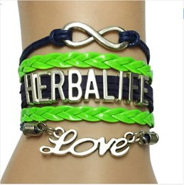 Wholesale New Infinity Love Herbalife dream Bracelet Handmade Blu with Neon Green Leather Braided Retro Strand Bracelet Bangle Gift