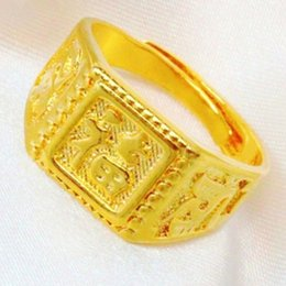 Wholesale K Gold Plated Quality Handmade Carved Characters Fortune bringing Square Adjustable Rings for Men