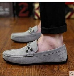 Wholesale Youth tide shoe Fashion Men s shoes Breathable The lazy Pure color Work shoes Driving shoe wear resisting Suede round head flat shoes Black