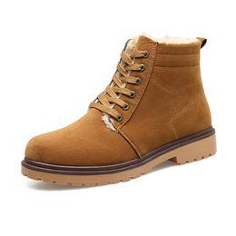 Wholesale Men Boots Snow Boots Men New Fashion Men s Winter Shoes Australian Suede Rubber Martin Boots Genuine Leather Sheepskin Fur Warmer J63