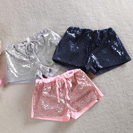 Girls' Short Pants With Sequins Bling Bling Hot Pants Toddler Baby Sequins Shorts Tie Bow Elastic Waist Trousers Candy Trouser