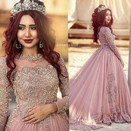 2016 Ball Gown Long Sleeves Wedding Dresses Princess Muslim Western Wedding Dresses Bridal Gowns With Beads