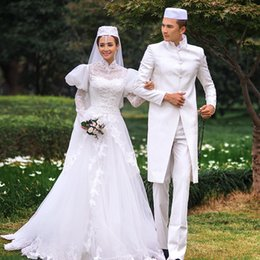 Elegant Muslim Wedding Dresses 2016 full with Long Sleeves 3D-Floral Appliques Custom Made Tulle Lace Robe de Mariage High Neck Bridal Gowns
