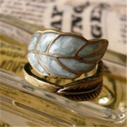 Wholesale Restore Ancient Ways Adorn Article Super Simple Sense Colored Glaze Leaves Ring