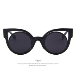2016 New Fashion Vintage Women Cat Eye Sunglasses Dazzle Colour Star Sunglasses Round Mirror UV400 Lens Cat Eye Frame Metal Legs