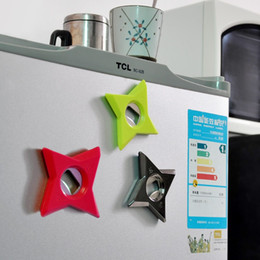 Wholesale in1 Star Refrigerator Magnets Shuriken Darts Bottle Opener Ninja throwing Dart Beer Bottle Opener Fridge Magnet sticker Bar Tool