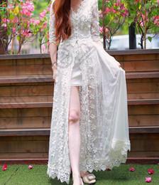 Wholesale 50PCS LJJL160 Sweet Fairy White Lace High slit Dress Tulle Long Solid Embroider White Gauze Dress Twinset