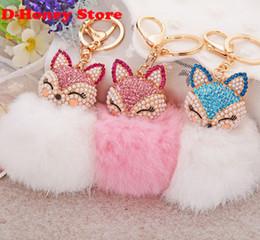 Wholesale 16CM rabbit fur fox key chains Bling Rhinestone Fox Real Rabbit Fur Ball Fluffy Keychain Car Key Chain Ring Pendant Bag Charm