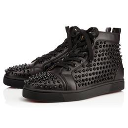 Wholesale Caja Original Hombres Zapatos Zapatos rojos de fondo boda del partido de la zapatilla de deporte de lujo cuero genuino Louisfalt Spikes del zapato con cordones de los zapatos ocasionales Negro Blanco