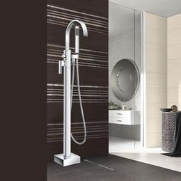 Wholesale Standing Bathroom Bathtub Faucet Handheld Shower Chrome Finish Single Handle Tub Mixer Taps