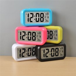 Wholesale New Fashion Led Despertador Blue Backlight Musical Digital Alarm Snooze Electronic Alarm Clock Calendar Control F313