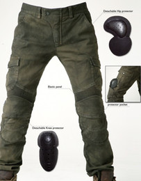 Wholesale Men s motorcycle pants uglyBROS Motorpool stylish riding jeans racing Protective pants of locomotive Black Stain over Olive green