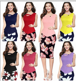 Wholesale S XL New Print Flora Casual Work Patchwork Bodycon Summer Office Dresses Plus Size Women Clothing Fitted Elegant Pencil Dresses FS0258