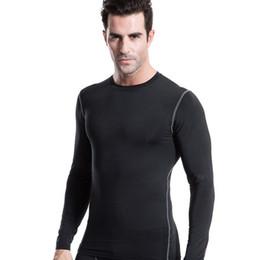 Capas base en Línea-Al por mayor-Hombres de compresión de la manga larga del O-Cuello Deportes Tight T Shirts de secado rápido al Gimnasio, base de la capa de las tapas S-XXL