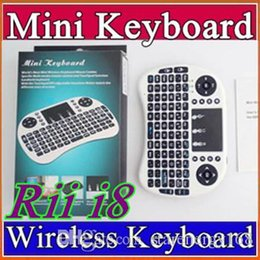 Wholesale 10X Wireless Keyboard rii i8 keyboards Fly Air Mouse Multi Media Remote Control Touchpad Handheld for TV BOX Android Mini PC B FS