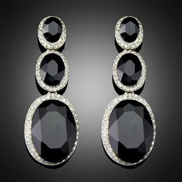 Wholesale Costume Brincos for Women Vintage Design Antique Platinum Plating Black Alloy BlImitation Big Drop Earrings