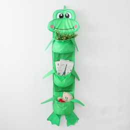 Wholesale 3 Compartments Hanging Oxford cloth Storage Basket Organizer cartoon Toy Storage Cage Pouch Bag storage closet Collapsible