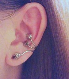 Wholesale Punk Rock Rhinestone ear cuff earring Silver plated piercing ear cartilage Women Party statement ear clips jewelry