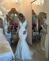 Wholesale 2016 Barbara Melo Full Lace Mermaid Wedding Dresses Long Sleeve Lace Bride Gown With Pearls Deatil and Cutaway Sides Sweep Train