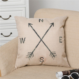 Wholesale Retro Cotton Linen Square Vintage Throw Pillow Case Shell Decorative Cushion Cover Pillowcase Compass quot x quot for Sale