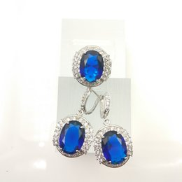 Wholesale The new jewelry Sapphire fashion beautiful set for women silver earrings ring size free jewelry boxe