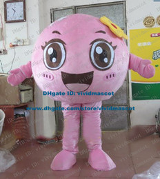 Wholesale Interesting Pink Burger Meat Ball Meatballs Keftedes Rice meat Dumplings Mascot Costume Cartoon Character Mascotte Adult ZZ566