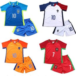 Wholesale European Cup football clothes children two piece France Netherlands Spain Germany casual short sleeved ball new baby sport