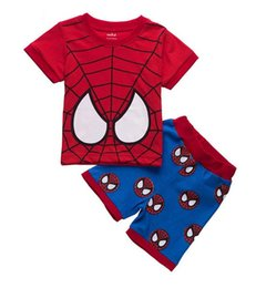 Wholesale Spider man summer style boy suit children clothing Home Furnishing pajamas cotton short sleeved shirt boy best selling sales