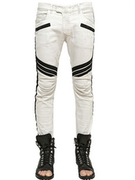 2016 white biker jeans street pants Mens Biker pant Slim Fit skinny Pant Joggers Motorcycle elastic pants