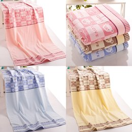 Wholesale Pure Cotton Towels Thick Pale Yellow Sky Blue Pink Bath Towel Manufacturers Cotton Towels Bear Box HY1238