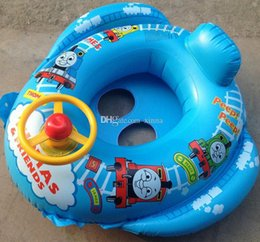 Wholesale High Quality Safe Cartoon Baby Swimming Seat Ring Kids Inflatable Car Style Float Boat Children Swim Ring Lifebuoy Safety Double Protection