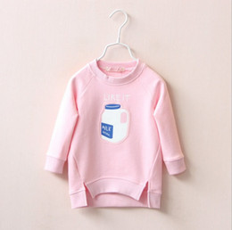 Wholesale New Autumn Girls Sweater Milk Bottle Pattern Little Kids Pullover Children Clothes Jumper Slip Over Top Sport Dress