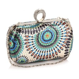 Wholesale Gold Silver Black Fashion Lady Bags Handmade Evening Clutch Purse Diamond Crystal Chain Designer Evening Bag
