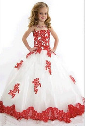 White And Red Flower Girls Dresses For Wedding Tulle Lace Applique Sheer Neckline Beaded Ball Gown Kids Children Girls Party Pageant Gowns