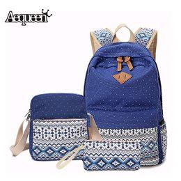 Wholesale Set Women Backpack Canvas Printing School Bags For Teenagers Girls Backpacks Cute Rucksack Schoolbag Lady Bookbags Female