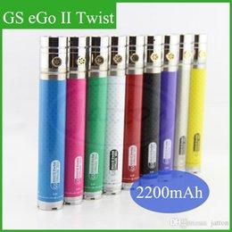 Torsion ii à vendre-GS Ego II Twist Batterie variable Tension 3.3-4.8V 2200mah E Cigarette Batterie GS EGO 2 Batterie Ego Batterie Ego Twist avec Becoration Anneau