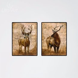 2pcs Modern Deer Real Animal Pictures Elk Oil Printing Canvas Paintnecor Photos On Canvas Cheap Living Room Wall Art No Frames